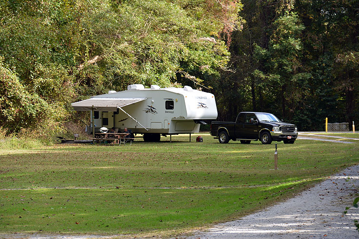 An RV site at Pettigrew State Park
