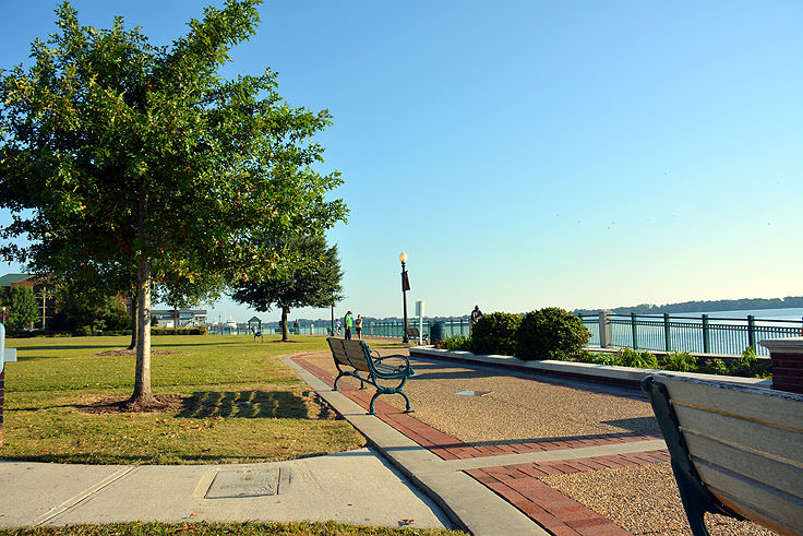 Walking path and benches at Union Point Park in New Bern, NC