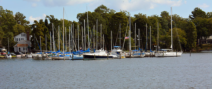 Boats docked in Bath Creek, NC