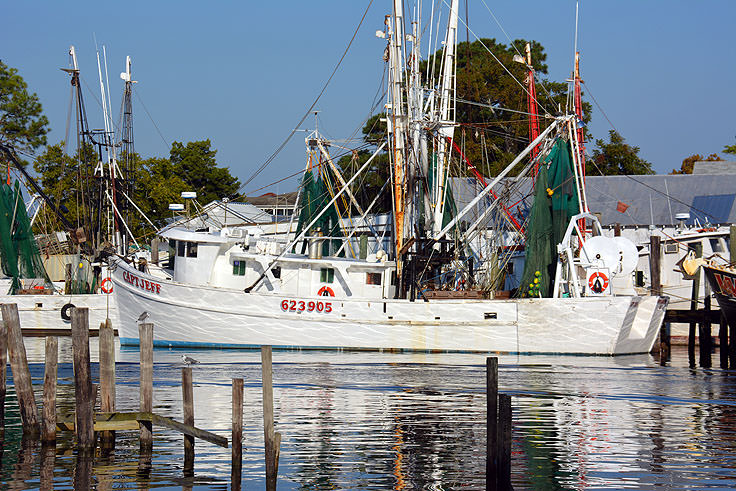 Fishing boats moored at Oriental, NC