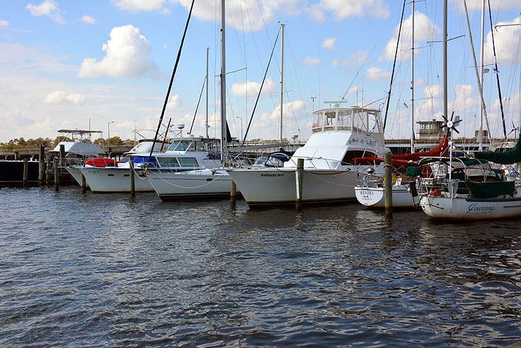 Boats in the waterfront marina in Washington, NC