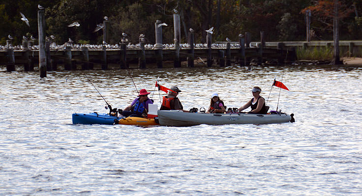 Kayak fishermen on the Pamlico River in Washington, NC